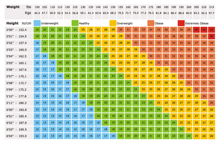 Healthy bmi for men chart